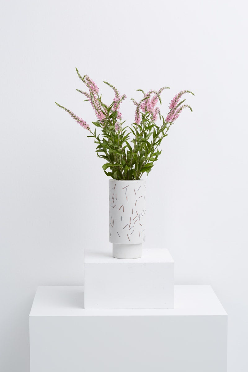 large vase in white match stick
