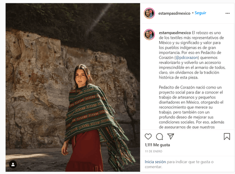 instagram post featuring a beautiful girl wearing a green shawl over a brown dress