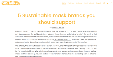 Sustain the Mag Sustainable mask brands you should support