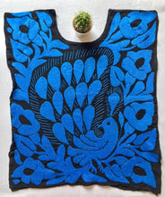 Load image into Gallery viewer, black mexican blouse with bright blue hand embroidery