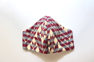 beautiful knitted mexican design  face masks in burgundy and gray colors