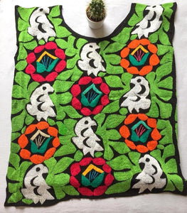 colorful mexican blouse with hand embroidered parrot and flower print