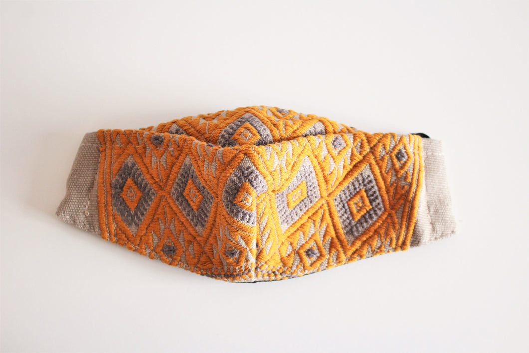 protective face mask in beautiful orange and light brown embroidery