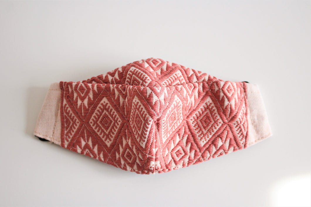 protective face mask in beautiful indian red and pale pink embroidery