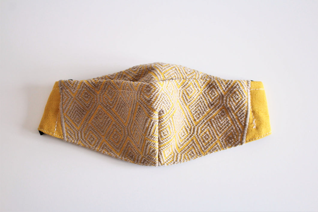 protective face mask in beautiful yellow and light brown embroidery