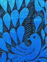 Load image into Gallery viewer, hand embroidered peacock in bright blue tone