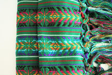 Load image into Gallery viewer, green bohemian wool rebozo