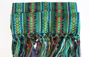 green  ethnic wool rebozo
