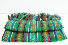 Load image into Gallery viewer, green handmade wool rebozo