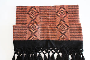 bohemian mexican rebozo with geometric orange design