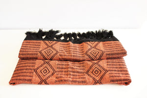 handmade mexican rebozo with geometric orange design