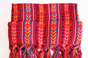 mexican rebozo red bohemian wool design