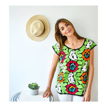Load image into Gallery viewer, model wearing a colorful mexican blouse with hand embroidered parrot and flower print