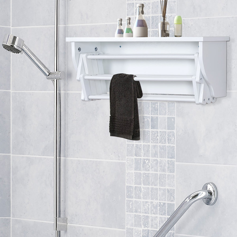 Wood Wall Mount Towel Hanging Laundry Rack