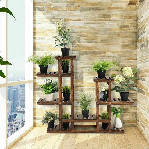 6 Tier Flower Rack Wood Plant Stand Pot Display