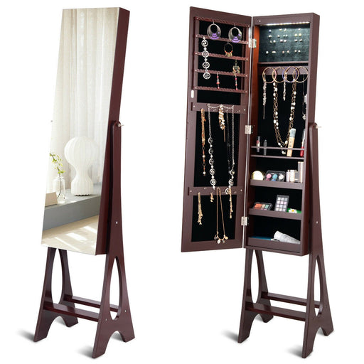 Full Length Mirror Freestanding Jewellery Armoire with LED lights