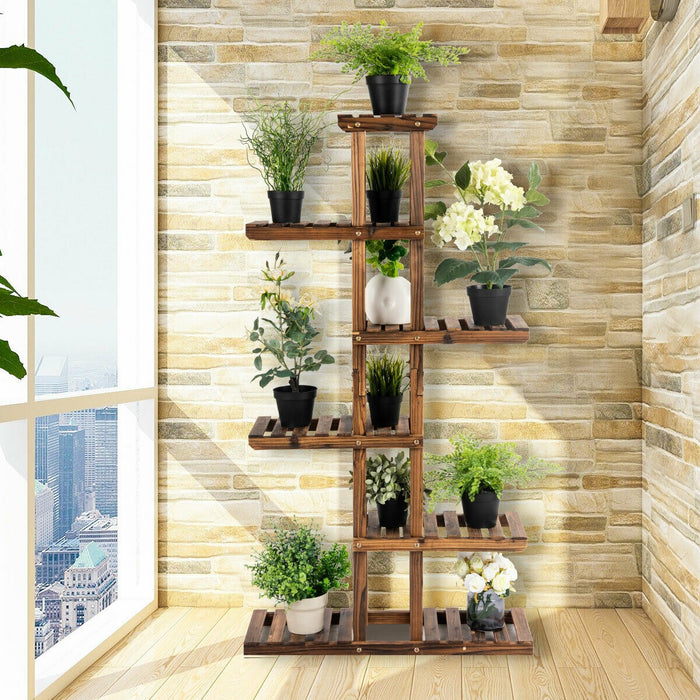 6-Tier Bonsai Flower Rack Wood Plant Stand