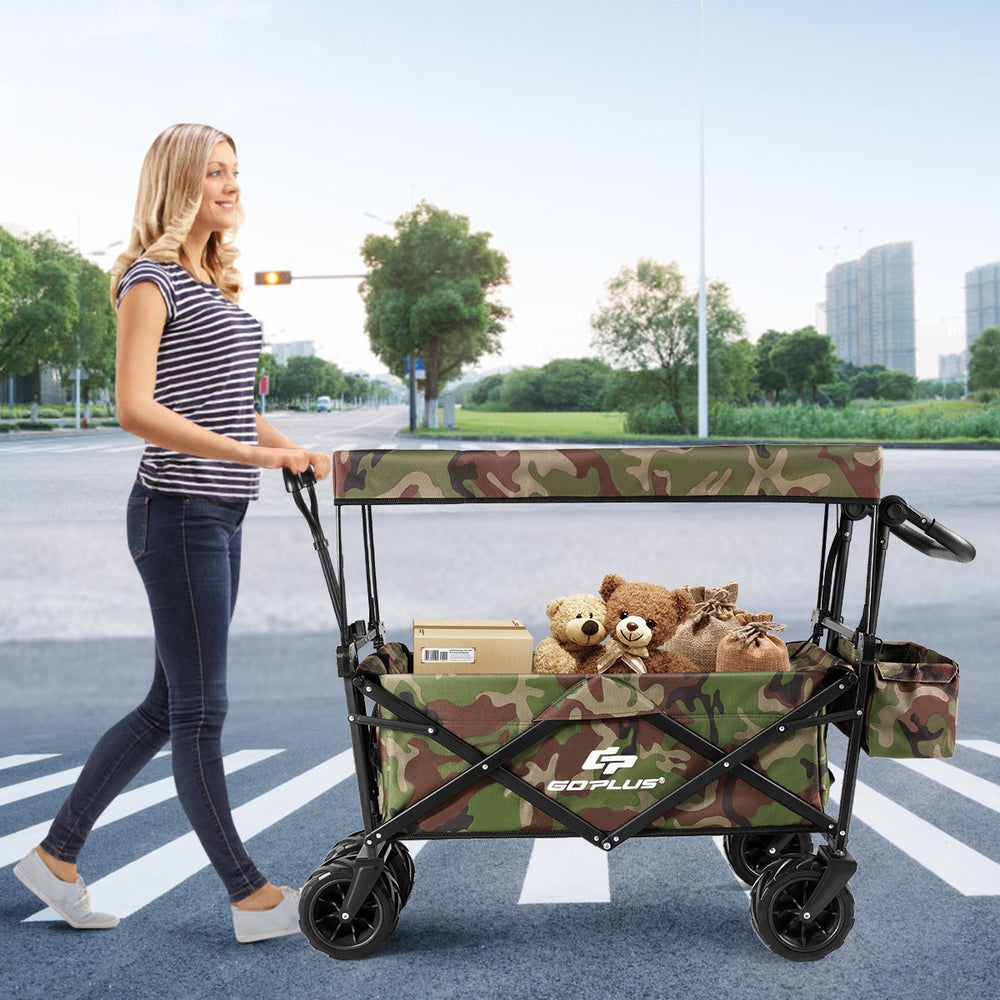 Outdoor Collapsible Wagon with Canopy