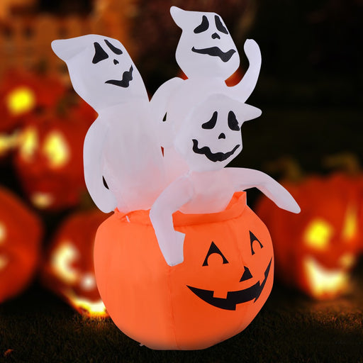 1.2m Inflatable Pumpkin with 3 Ghosts