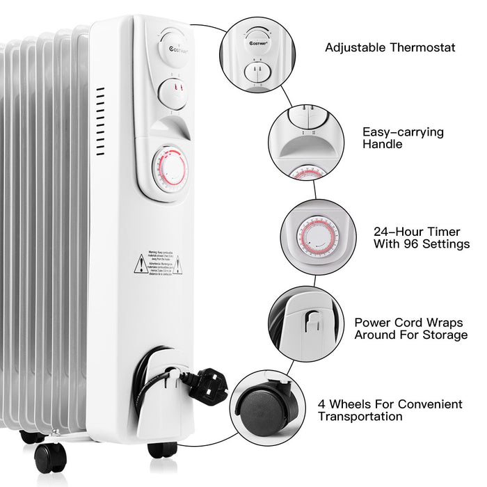 2500W Oil Filled Electric Timer Thermostat 11 Fin Heater