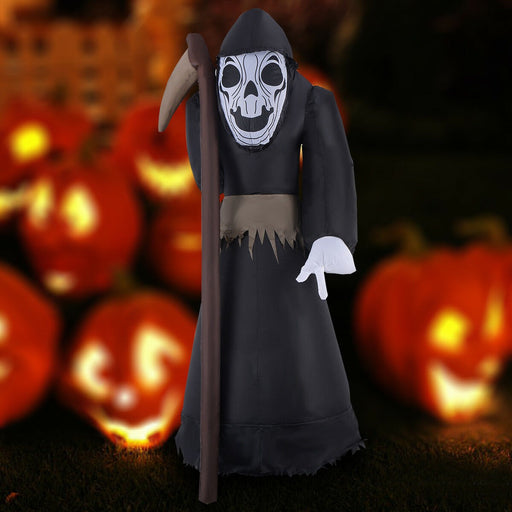 2.4m Inflatable Ghost with Sickle Halloween Decoration Light Up
