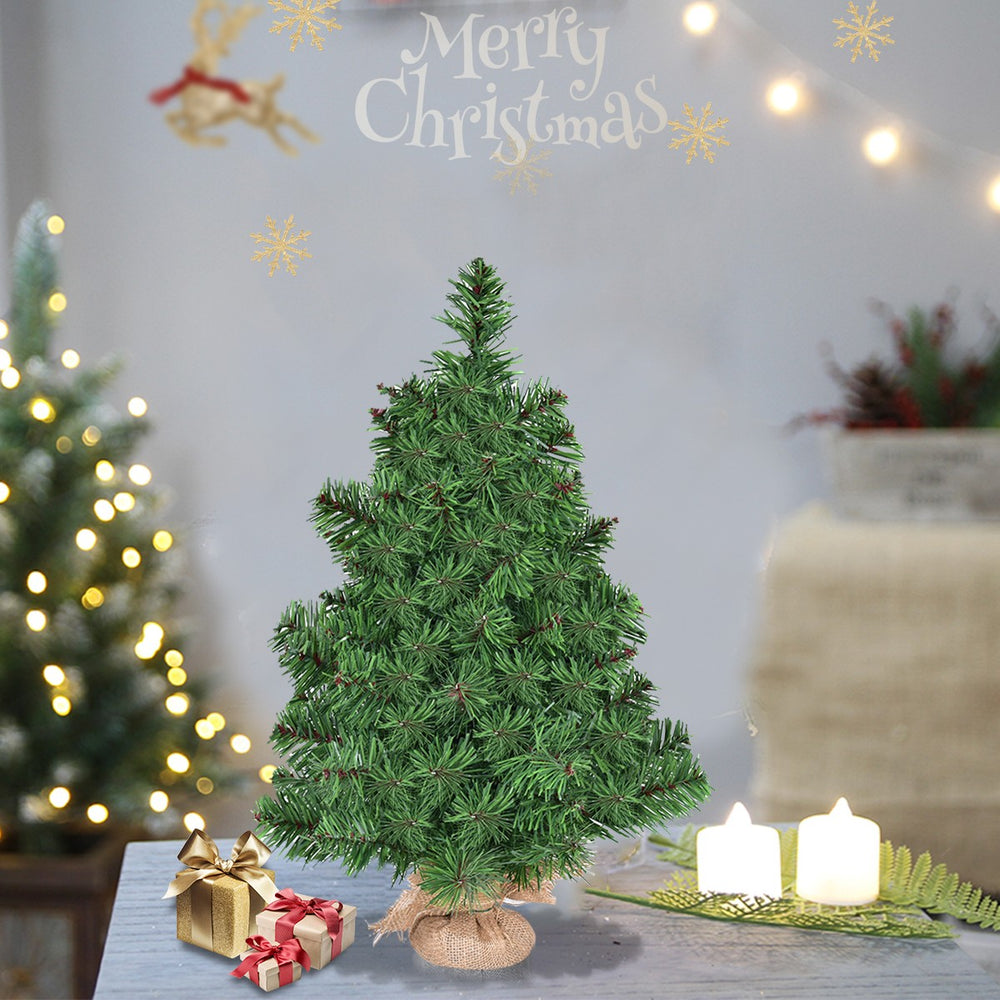 Artificial Table Top Christmas Tree with Burlap Base