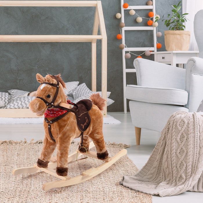 Child's Rocking Horse with Music-Brown