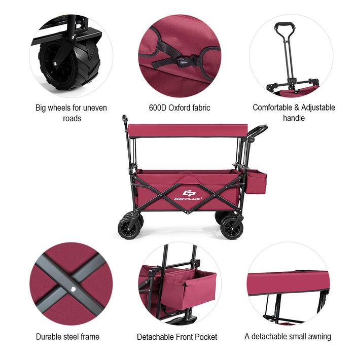 Outdoor Collapsible Folding Wagon Cart with Canopy