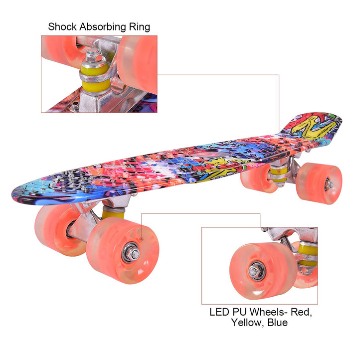 "22"" Skateboard with LED Light Up Wheels"