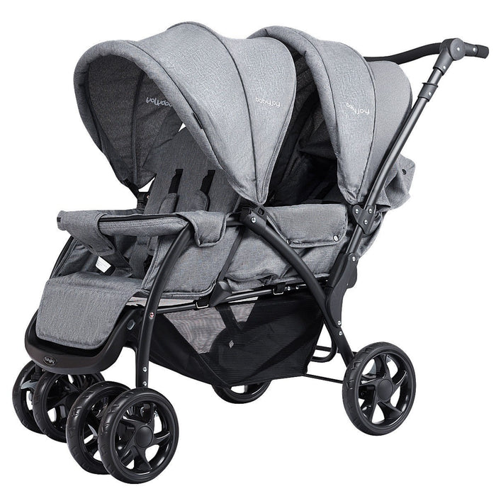 Baby Pram Double Seat Safety Adjustable Backrest Pushchair Stroller