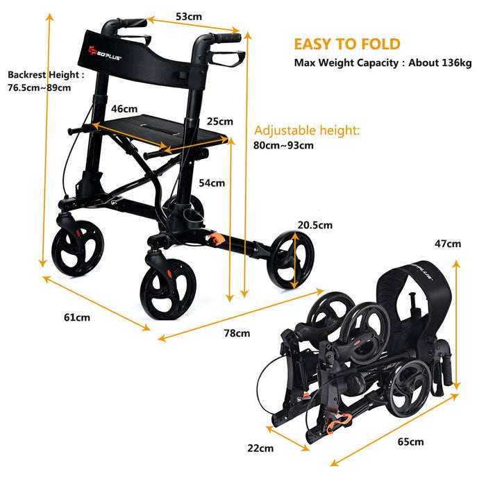 Foldable Rollator Safety Mobility Aid Wheelchair Aluminum