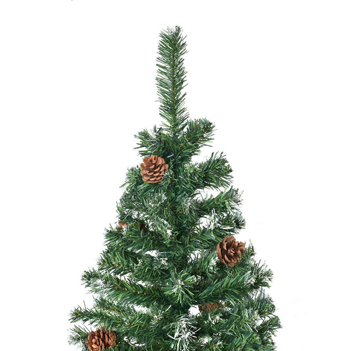 7ft Artificial Christmas Tree with Snow and Pine Cones