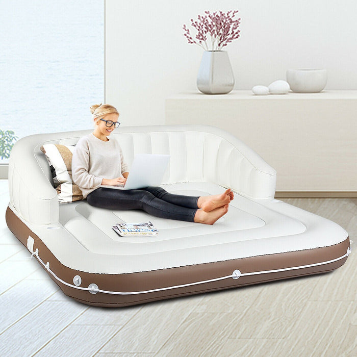Inflatable Pool Lounger with Sun Canopy