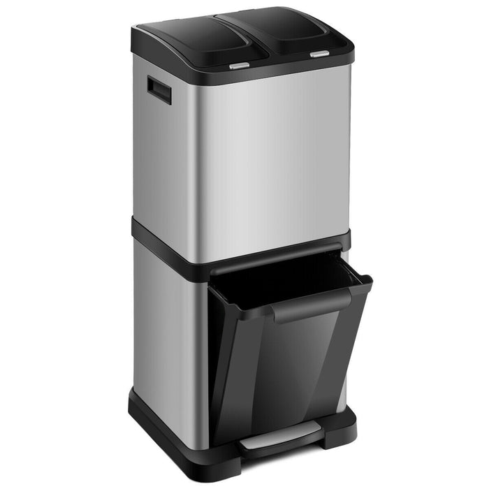 32 L Compartment Kitchen Recycle Pedal Bin Stainless Steel