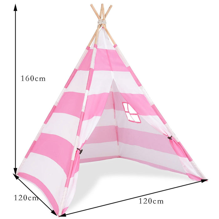 Indian Play Tent Wooden Bar Children Playhouse Canvas