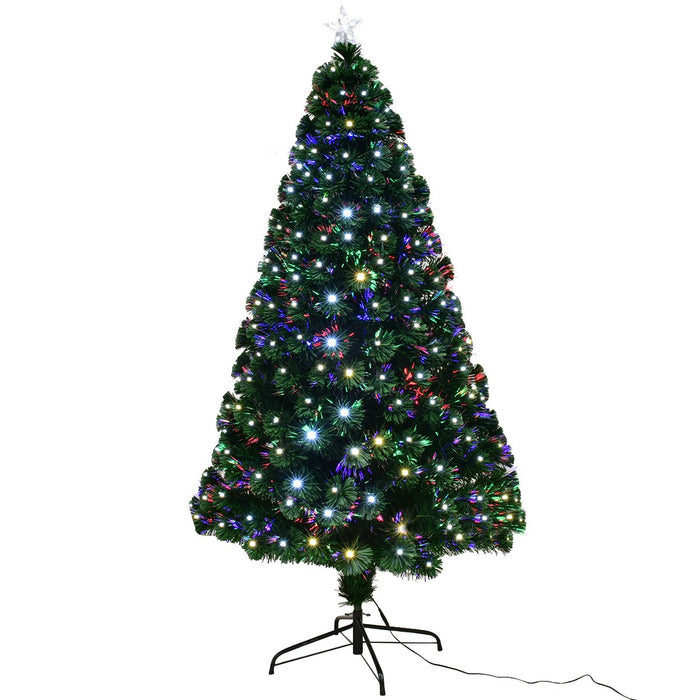 Christmas Tree Fibre Optic Color Changing LED Lights Xmas Star 6FT