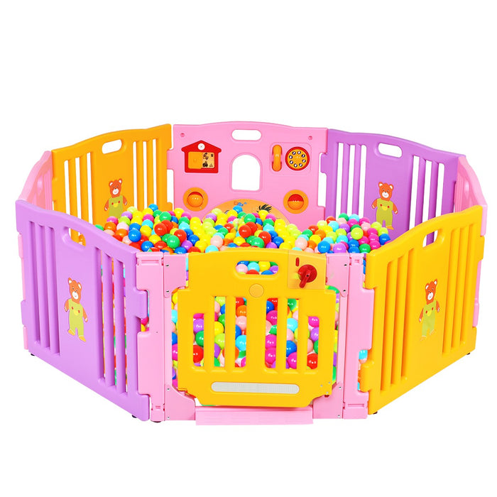 Pink 8 Panel Baby Playpen Kids Safety Play Centre