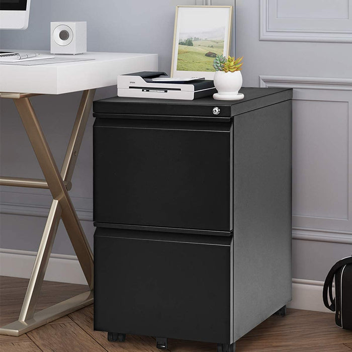 2-Drawers Mobile File Cabinet with Lock