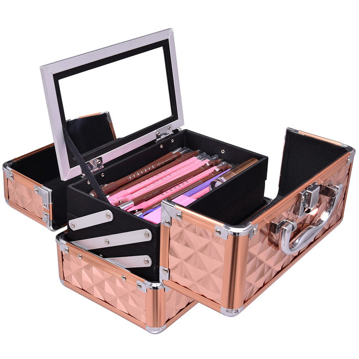 Cosmetic Case with Mirror & Extendable Trays