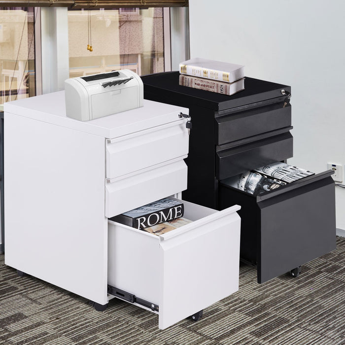 Mobile File Cabinet 3 Pedestal Drawers Lockable Casters
