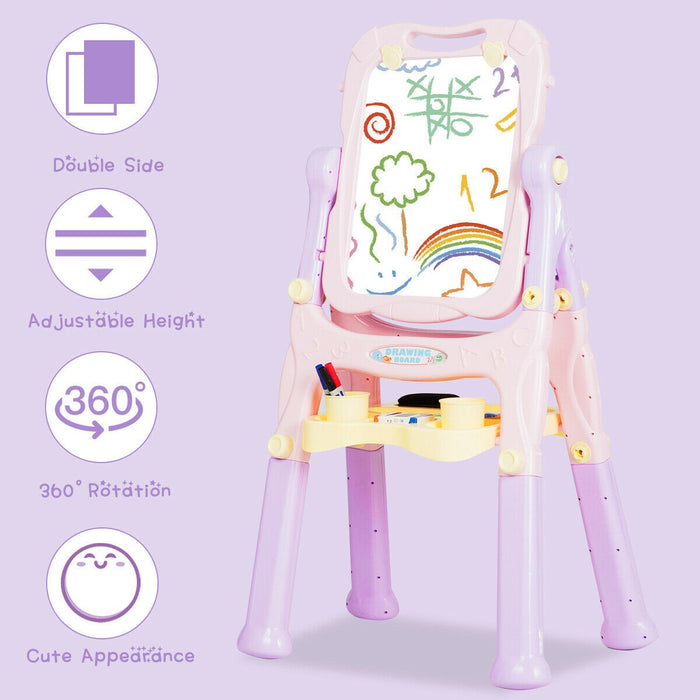 Double Sided Magnetic children's Easel with Storage Tray