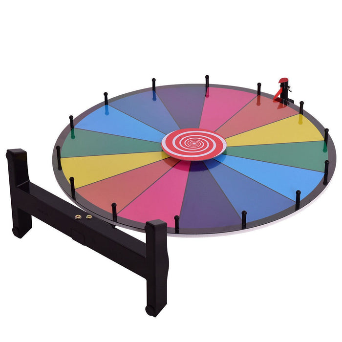 "Costway 24"" Color Prize Wheel Dry Erase Fortune Spinning Tabletop Floor Stand Win Roulette Game"
