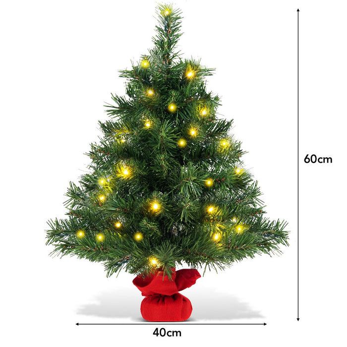 2ft Artificial Table Top Christmas Tree with LED Lights