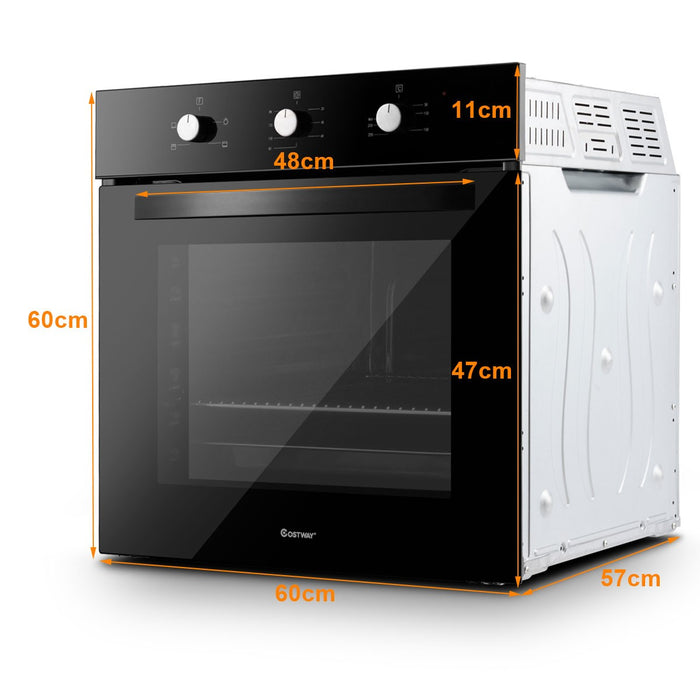 Basic Built-in Single Electric Fan Oven Tempered Glass 71L