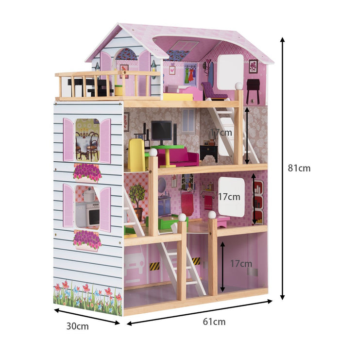 Wooden Doll's House with Accessories