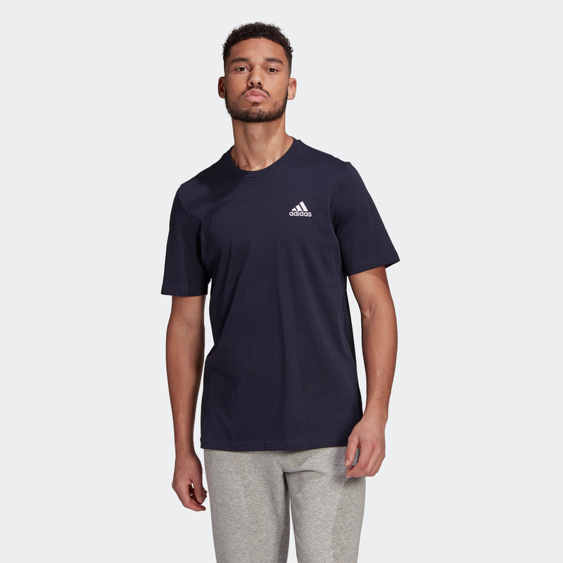 T-shirt blu adidas Essentials Embroidered Small Logo, Abbigliamento Sport, SKU a722000091, Immagine 0
