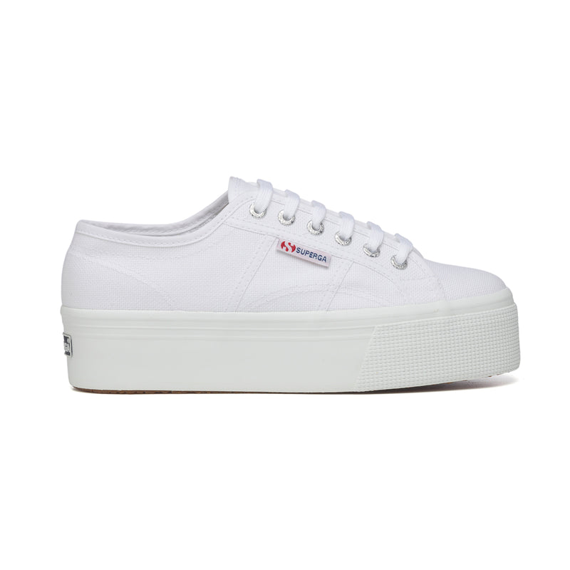 Sneakers bianche in canvas con zeppa 4 cm Superga 2790 Cotw, Sneakers Sport, SKU s311500048, Immagine 0