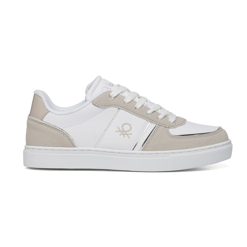 Sneakers bianche e grigie con logo laterale Benetton Ramble Pastel Colors Mix, Sneakers Sport, SKU s312500013, Immagine 0
