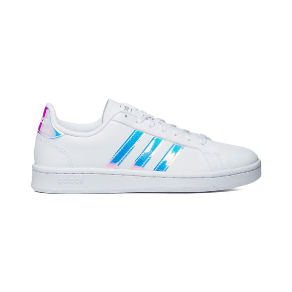 Sneakers bianche in pelle e similpelle con strisce cangianti Adidas Grand Court, Donna, SKU s314000040, Immagine 0