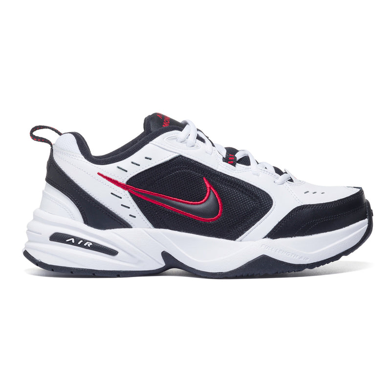 Sneakers bianche, nere e rosse in pelle e similpelle con logo laterale Nike Air Monarch IV, Brand, SKU s325000010, Immagine 0